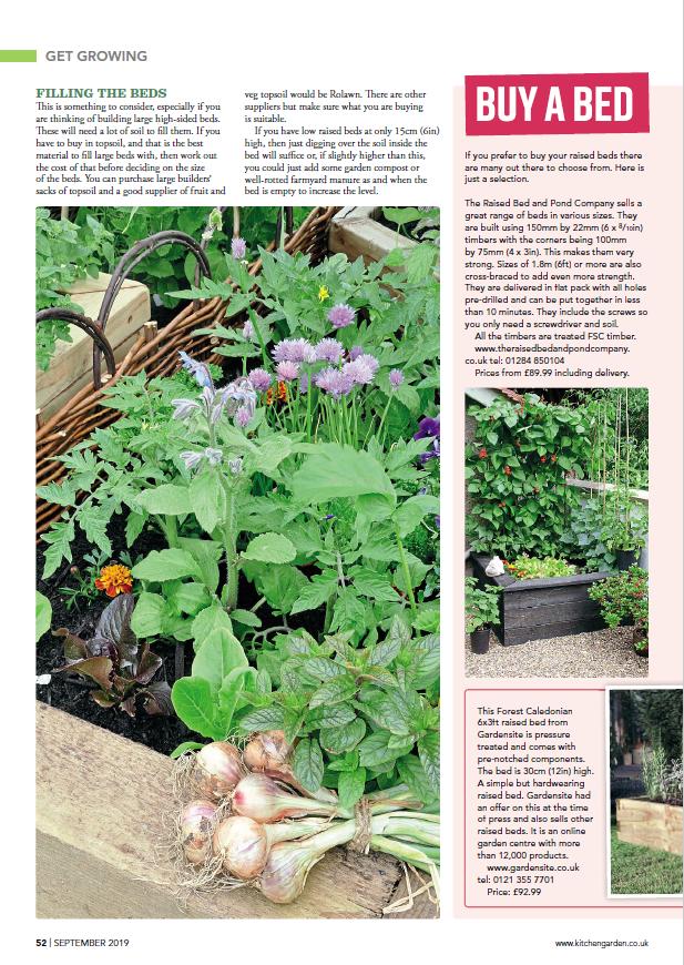 Page 1 of Kitchen Garden magazine's raised beds spread