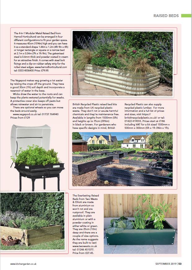 Page 2 of Kitchen Garden magazine's raised beds spread