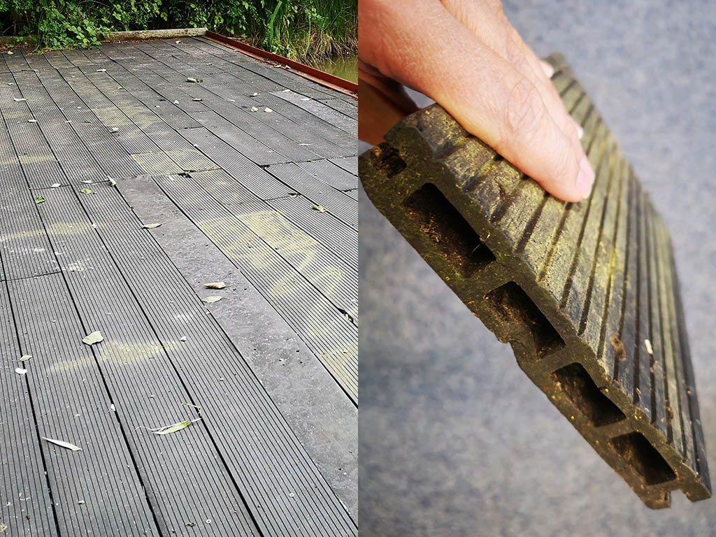 Hollow core composite decking platform