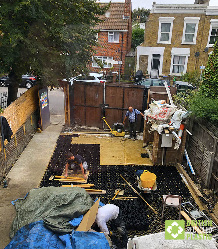 Hebden X-Grid being installed in a Peckham driveway