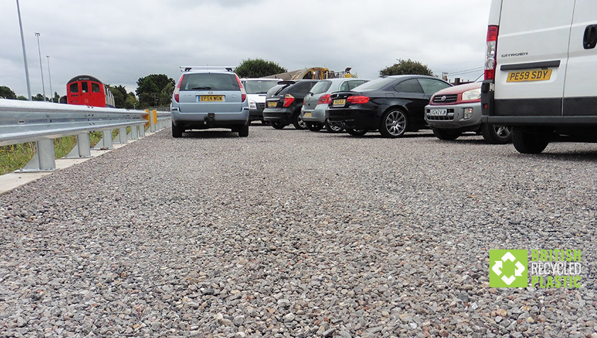 ground reinforcement grids installed in car park