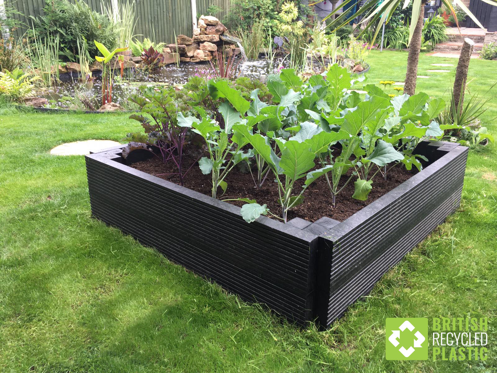 A standard 1 metre by 1 metre by 300mm recycled plastic raised bed kit