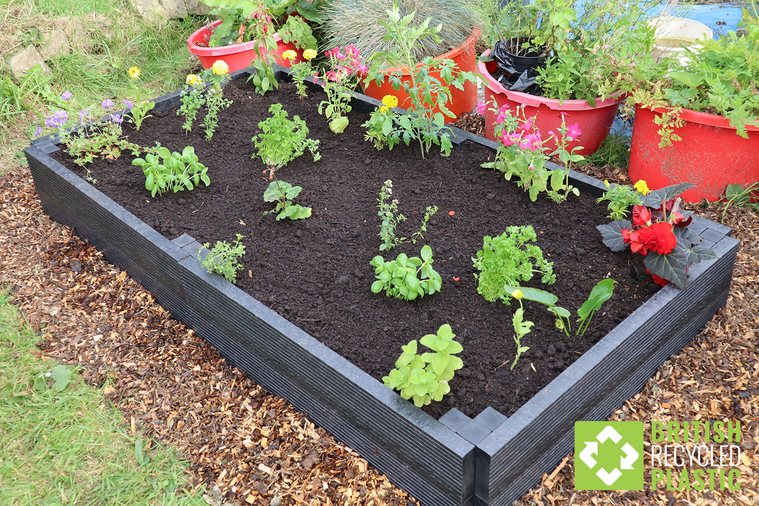 A 2 metre recycled plastic raised bed kit
