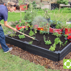 This is a recycled plastic raised bed kit measuring 2 metres long by 300mm high