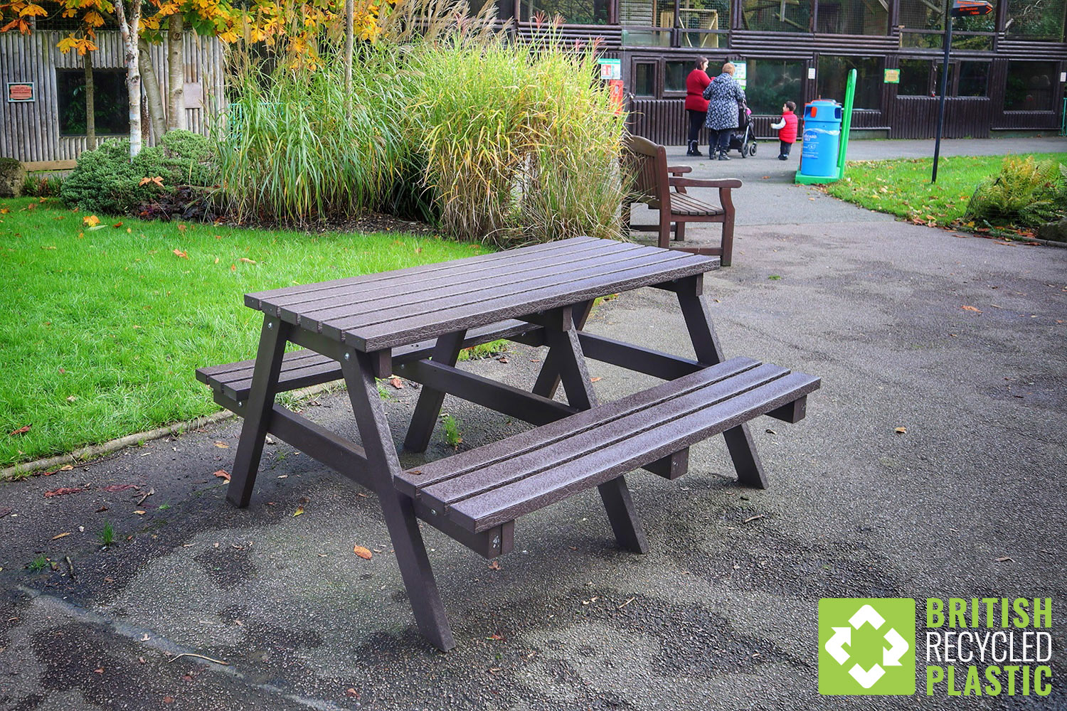 Recycled plastic picnic tables at Paradise Wildlife Park in Hertfordshire