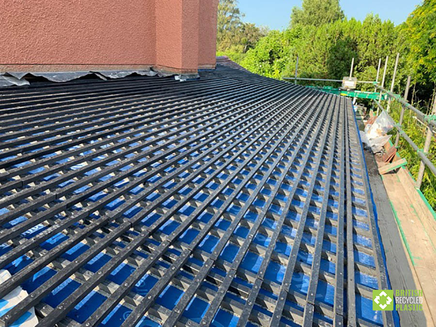 Recycled plastic lumber used for roofing