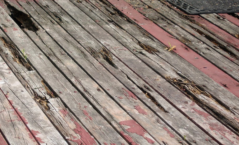 Rotten softwood decking