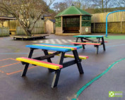 Riverside School, Hebden Bridge and their new Holmfirth junior recycled plastic picnic tables.