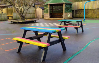 Riverside School, Hebden Bridge and their new recycled plastic picnic tables.