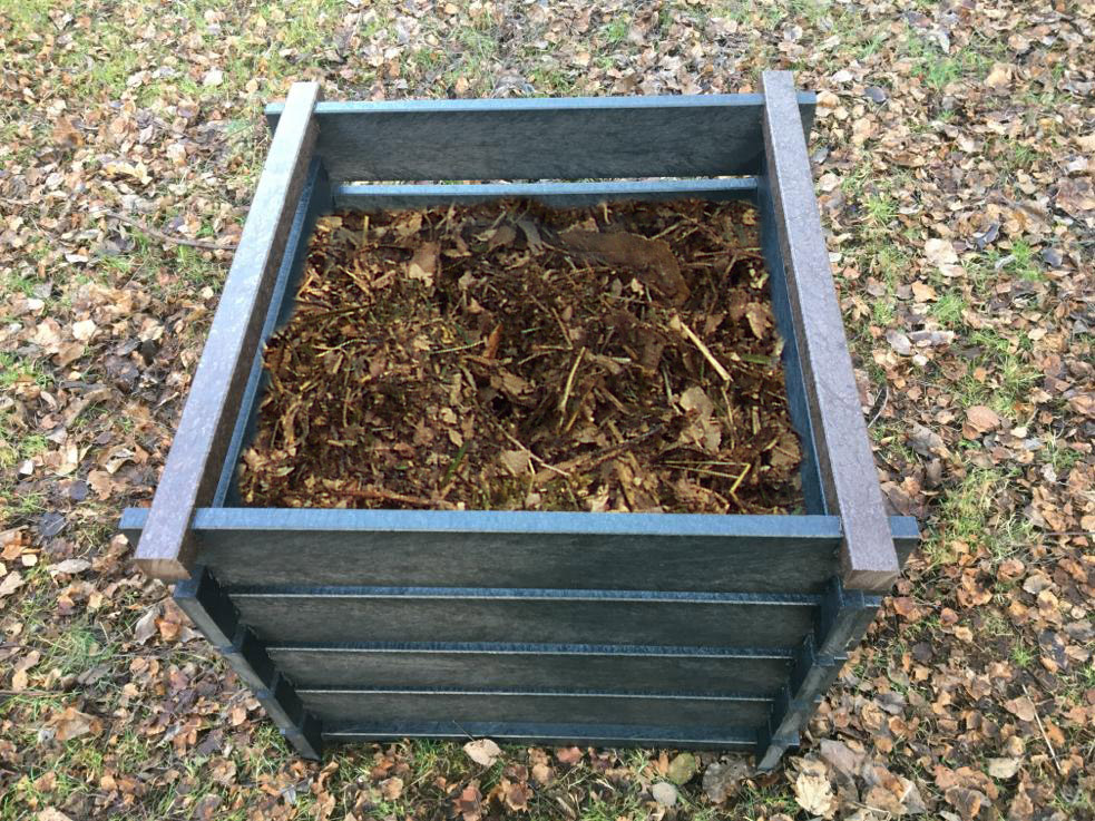 Black recycled plastic compost bin