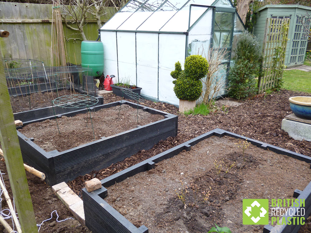 Recycled plastic raised beds for an essential part of John Bebbington's growing plans due to them never rotting, splitting, splintering or needing any maintenance