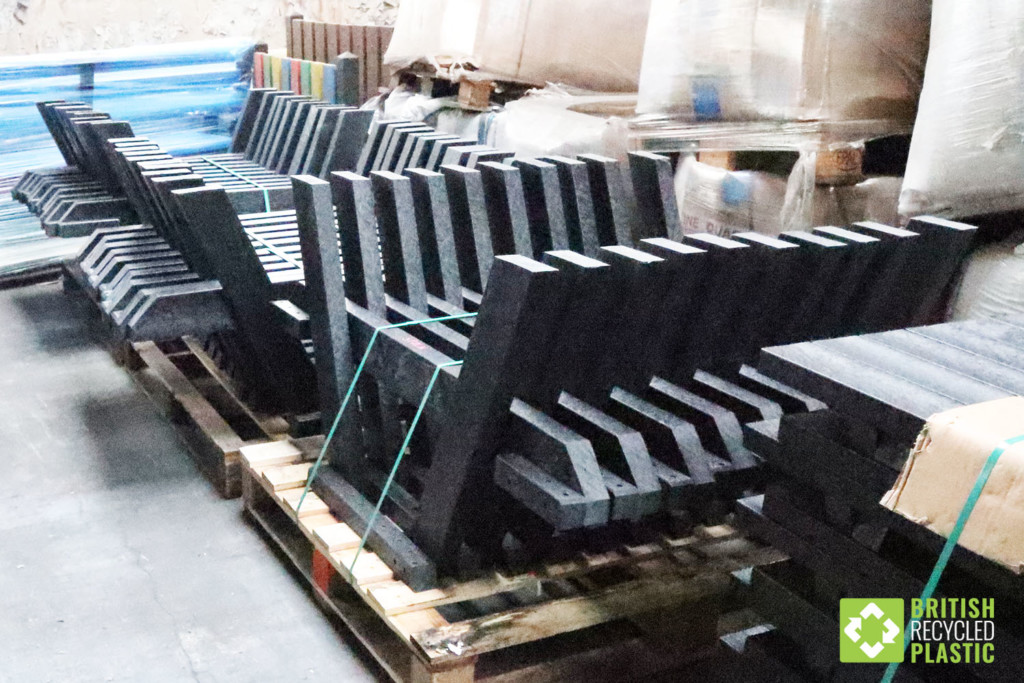 British recycled plastic furniture stock awaiting dispatch