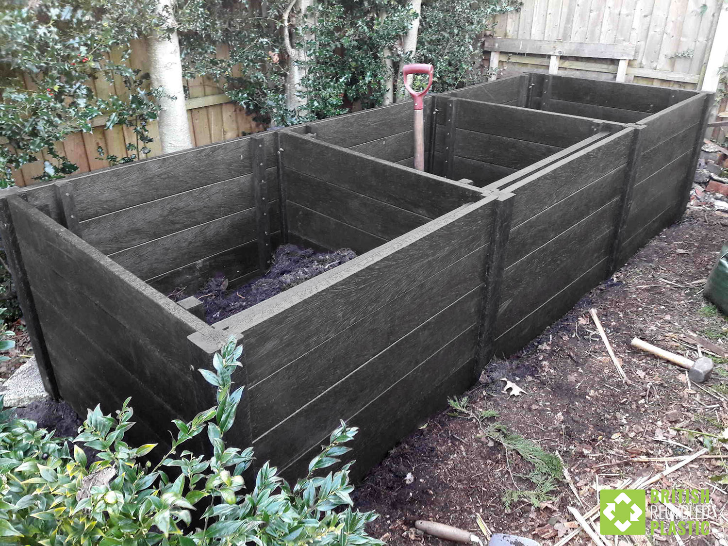 Compost bins made from from black recycled plastic for heat retention and maximum durability with a 25 year guarantee