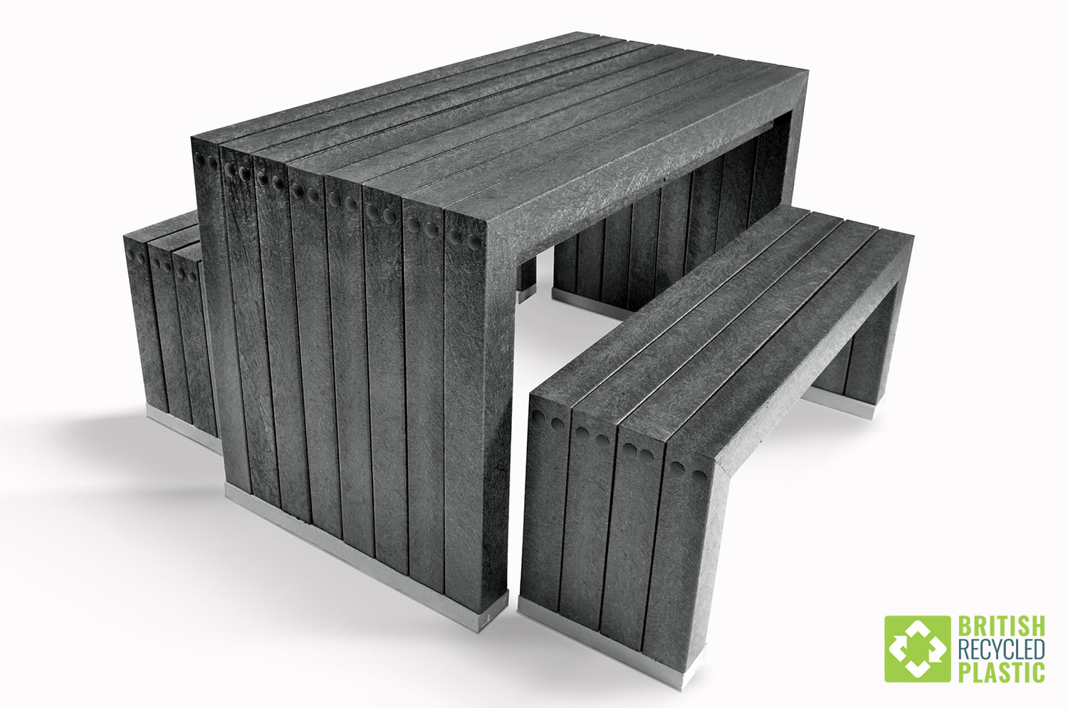 The Harrogate table and bench set from British Recycled Plastic combines elegance with practicality