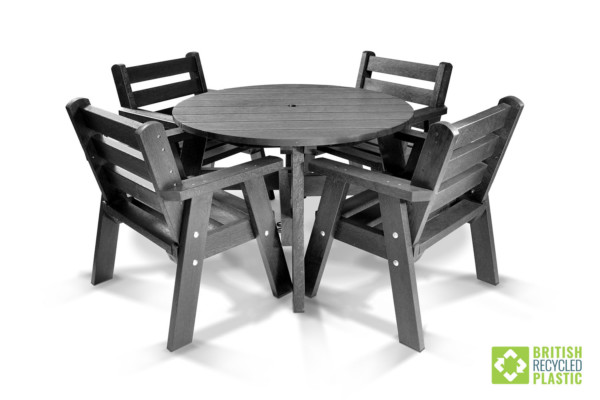 The Roundhay table and chairs made from maintenance-free British Recycled Plastic