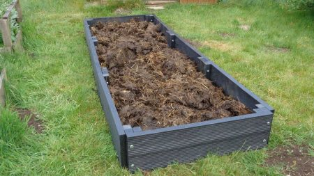 A layer of sheep manure goes into a recycled plastic raised bed