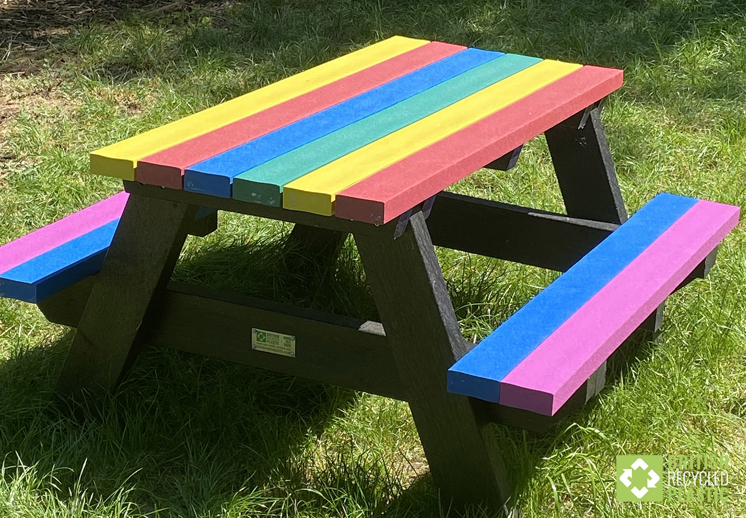 "The Holmfirth junior ""A-frame"" recycled plastic picnic tables are ideal for children from Reception up to Year 6"