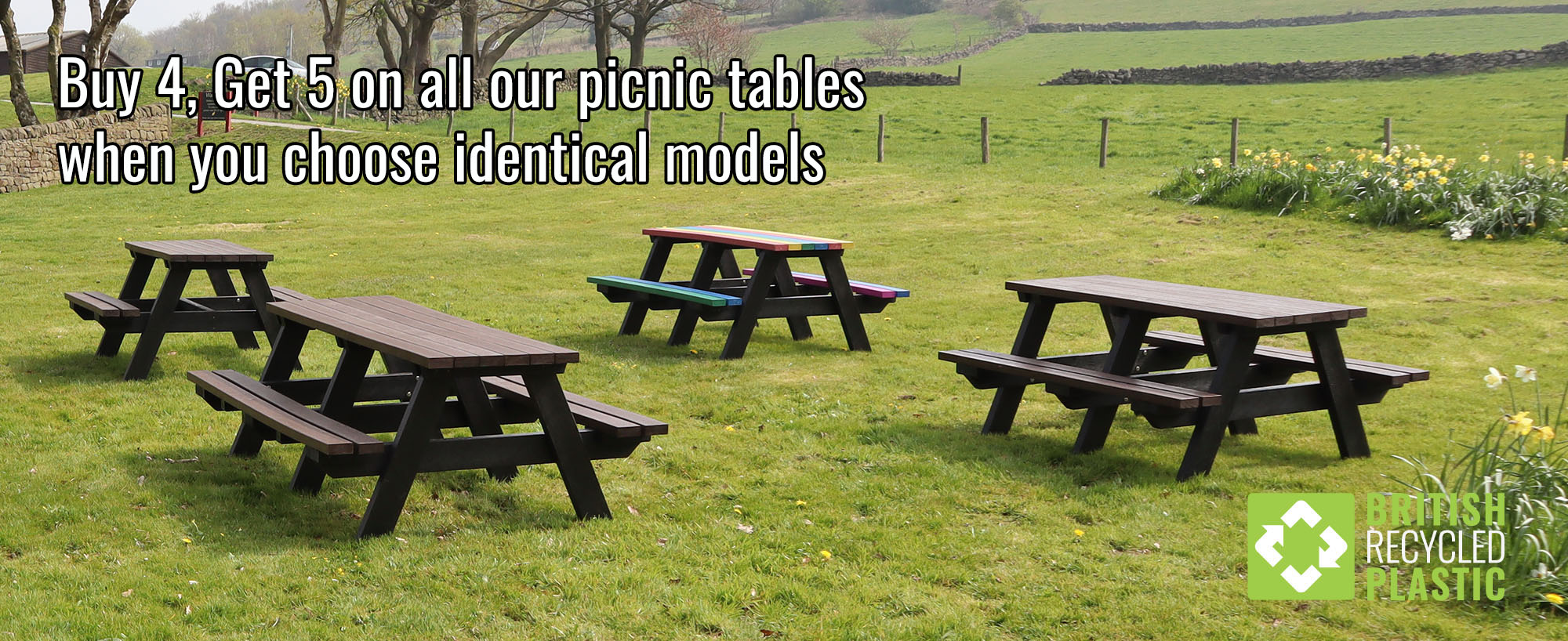 Buy 4 Get 5 on identical recycled plastic picnic table from British Recycled Plastic