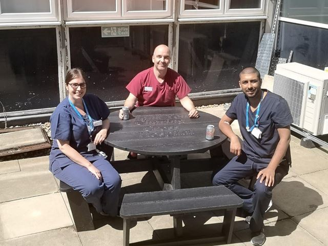 A Calder recycled plastic picnic table donated to the Covid-19 team at Charing Cross Hospital
