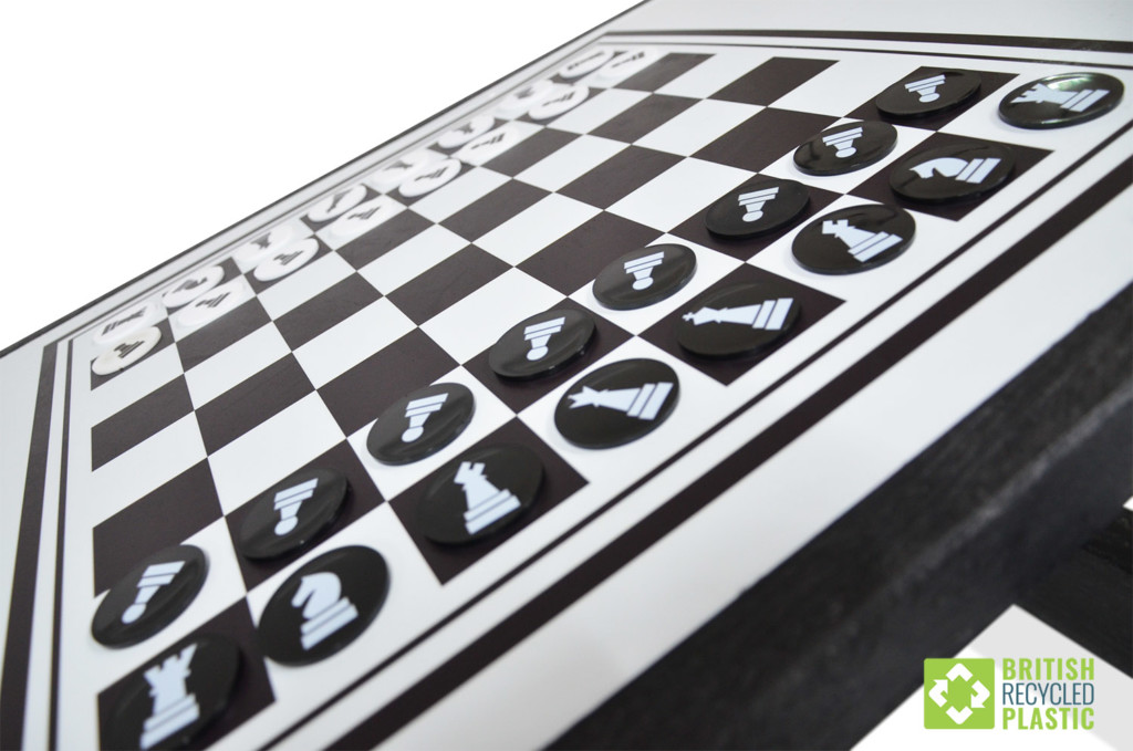 Several of the activity tops are also supplied with playing pieces, as is the case for this chess board