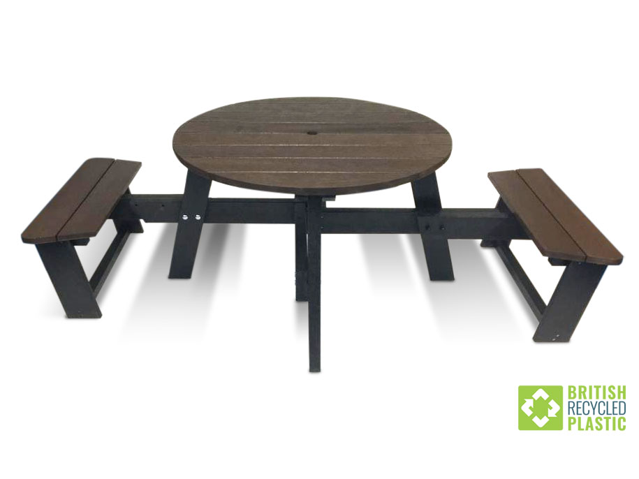 The all-weather adjustable Calder Plus picnic table, adaptable for safe social distancing