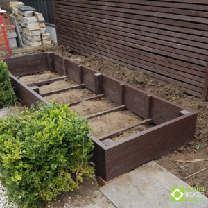 Garden to table growing. 300mm raised bed installation. Empty, before filling.