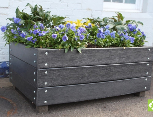 Recycled plastic planks used for blooming planters