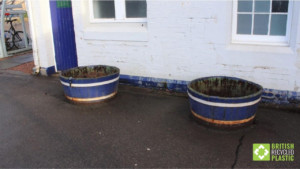 Dunblane In Bloom's old wooden planters
