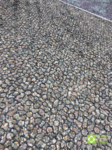 Close up of Hebden X Grid filled with gravel