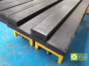 Recycled plastic planks in the factory