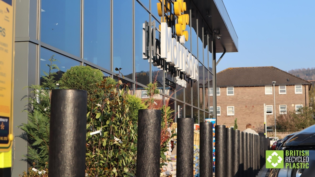 Our recycled plastic bollards at Morrisons Abergavenny