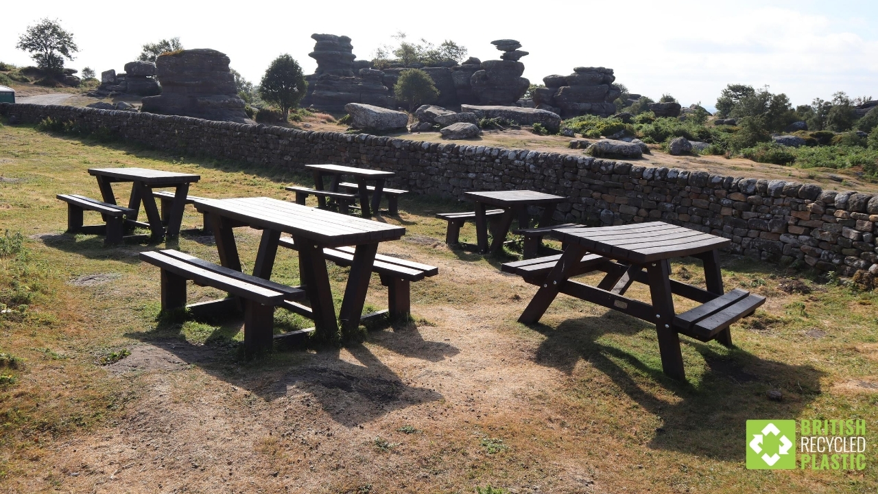 Standard and accessible picnic tables at Brimham Rocks