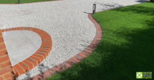 Brickwork trim on X Grid driveway