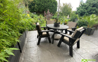 The Roundhay recycled plastic garden dining set is guaranteed for 25 years but, being completely rot-proof and splinter-proof, should last much longer than that.