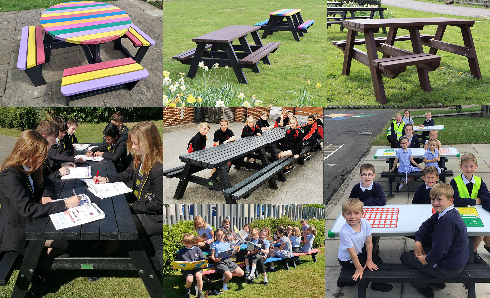 Recycled plastic tables for schools with a 25 year guarantee