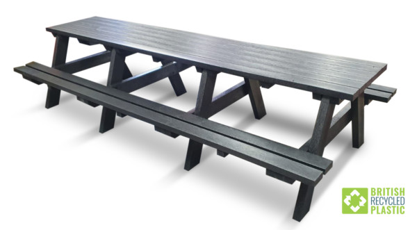 The Shipley very large recycled plastic picnic table is three metres long and can be supplied with space cut out to make it wheelchair accessible if required
