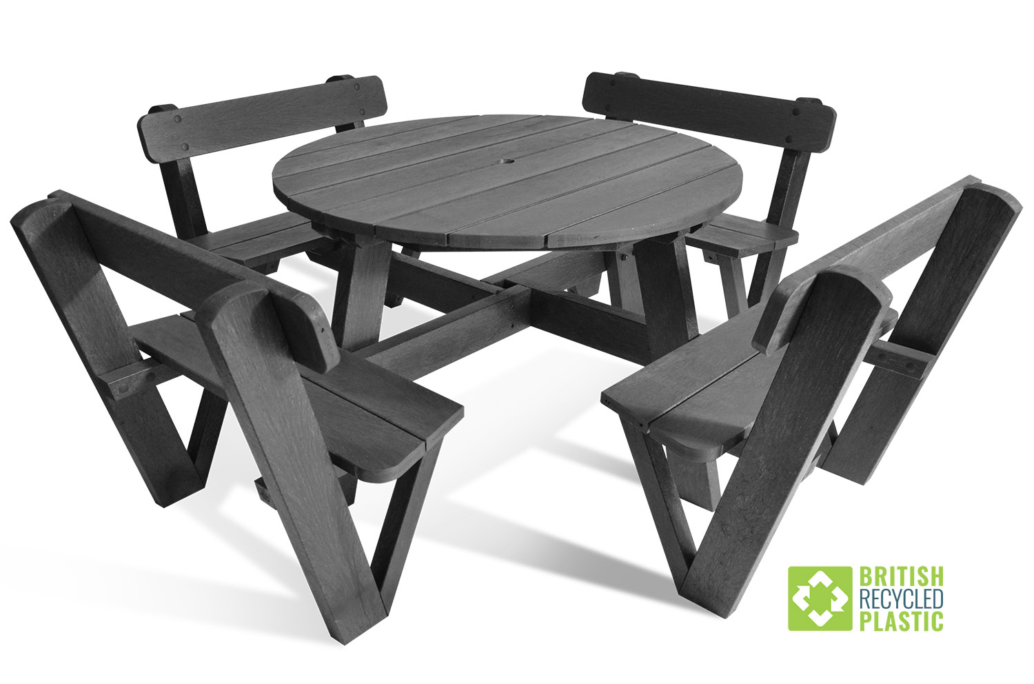 The Calder 8 seater recycled plastic picnic table with backrest