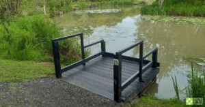 Image showing the fishing pond with new fishing peg extending out over the water