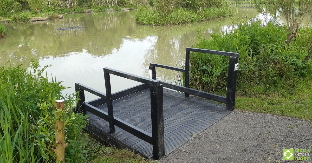 Accessible fishing peg, built from BRP recycled plastic decking boards
