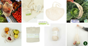 Sustainable, reusable organic cotton shopping bags from A Slice of Green