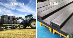 Image showing a tractor and trailer carrying black-wrapped silage bales and a second image of recycled plastic lumber planks stacked in the factory