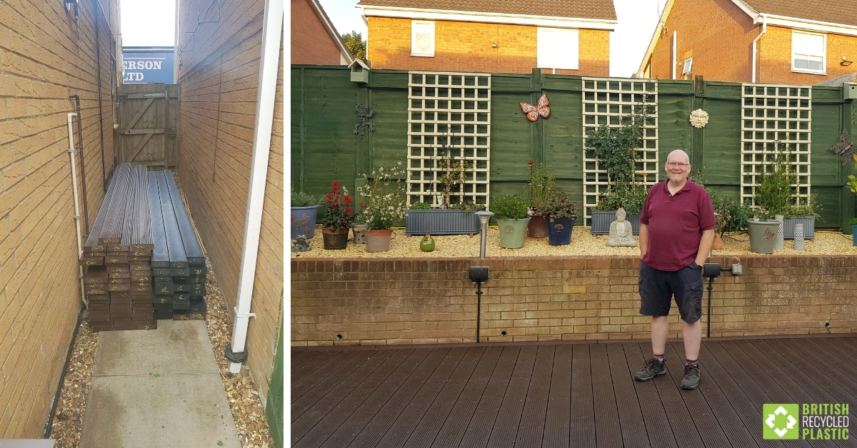 Image collage showing the delivered recycled plastic lumber stacked outside Glyn's home and then an image of Glyn standing proudly on his finished decking project