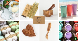 Homewares from Huski Home - compostable drinking straws, coconut wood utensils and rice-bran food boxes and cups