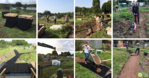 Picture shows a collage of images illustrating the installation process at Long Eaton Community Garden