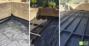 Image collage showing the steps involved in building the substructure of Glyn's decking project