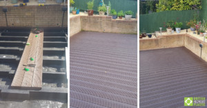 Image collage showing the superstructure of the ddecking under constructions, as well as images of the finished decking project.