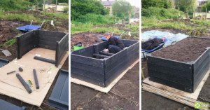 Multiple images showing the stages of building a BRP recycled plastic raised bed.