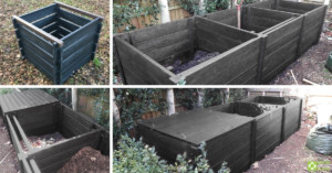 BRP recycled plastic composters. Redacre easy assembly composter and Callis triple composter with a single lid.