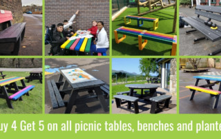 Buy 4 Get 5 on all picnic tables, benches and planters