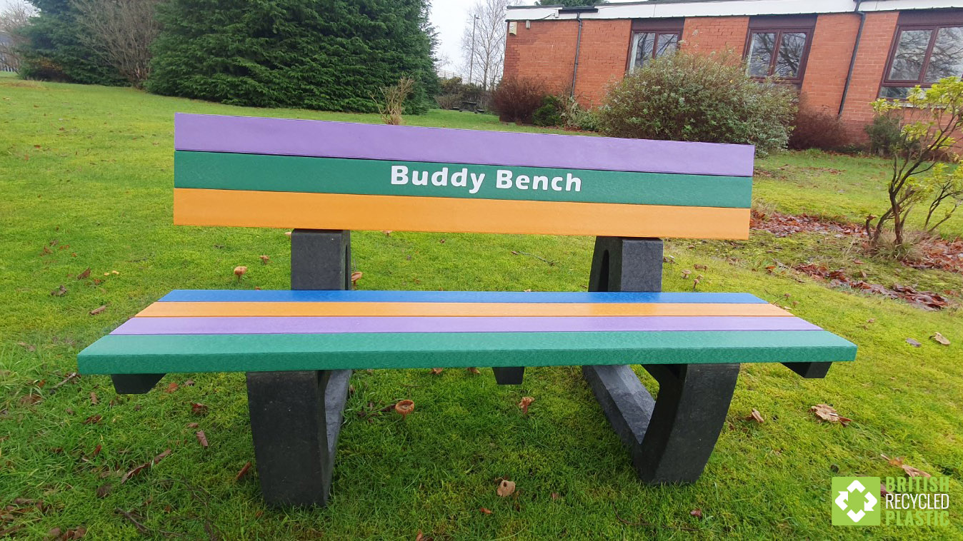 Our recycled plastic Buddy Bench designates a safe space for children who want someone to talk to